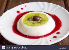 halloween dessert bloody eye from vanilla panna cotta and kiwi
