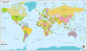 world map with country name and capital and currency map with countries and capitals at world with country names