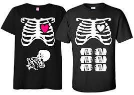 Non Maternity Halloween T Shirt Costume Rib Cage Pregnant Mom With
