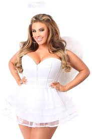 White Corset Halloween Costumes White Lavish Size 4 Pc Angel Corset Costume