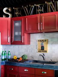 stunning red cabinet ideas with creative art kitchen
