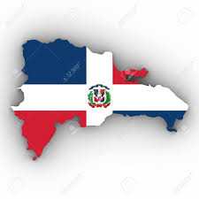 Domenican Flag Dominican Republic Map Outline With Dominican Flag On White With