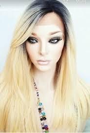 blonde hair with dark roots blonde human hair wig real hair hair blend long ombré dark
