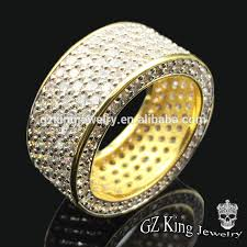 men gold rings hip pop gold plated micro pave ruby imitation ring designs