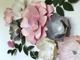 Pink Peonies Nursery Paper Flowers Wall Decor Paper Flower Wall For Baby Nursery