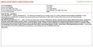 parts of cover letter spare parts clerk cover letter