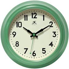 retro diner green wall clock by infinity instruments kitchen