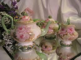 roses tea set magnificent mold beauty limoges antique tea
