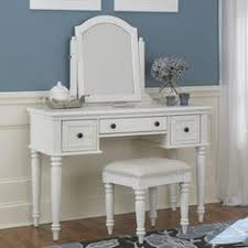 antique white dressing table desk with triple mirror and stool