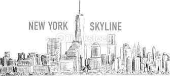 new york city vector drawing in sketch outline style vector art