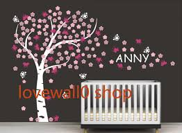 nursery large blossom tree with custom name butterfly room