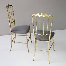 pair of brass italian chiavari chairs