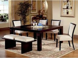 Rustic Dining Room Bench Black Glossy Wooden Dining Table With White Seat Armless Chairs