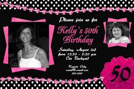 black white pink 50th birthday invitation polka dots bling