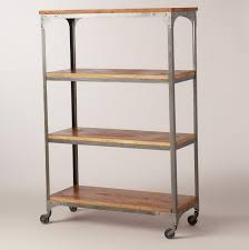 metal and reclaimed wood bookcase home design ideas