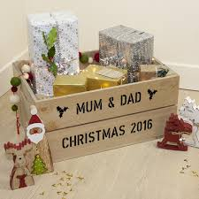 large personalised wooden christmas gift crate