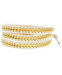 gold chain leather bracelet images Chan luu white chain and leather wrap bracelet jpg