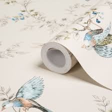 Stevens Blinds And Wallpaper Colours Heligan Cream Birds Mica Effect Wallpaper Wallpaper