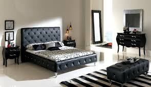 black leather tufted headboard for contemporary bedroom sets with