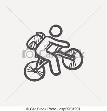 vector clipart of mountain bike rider sketch icon for web and