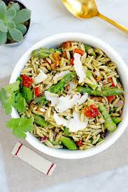 orzo pasta salad with basil pesto and parmesan cheese two of a kind
