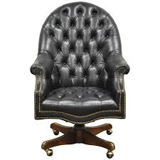 Leather Office Desk Chair Vintage Tufted Black Leather Chesterfield Style