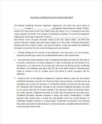 10 confidential disclosure agreement templates u2013 free sample