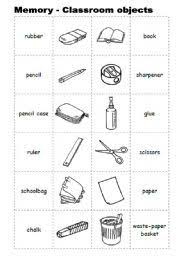 classroom objects worksheet 1 english step by step 1st