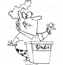 vector of a cartoon woman calling bingo numbers coloring page