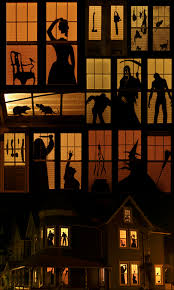vintage halloween lights halloween garage door silhouette plywood decoration and lights