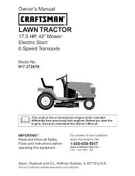 craftsman lawn mower 917 27267 user guide manualsonline com