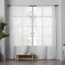 White Linen Blackout Curtains Sheer Linen Curtain White West Elm