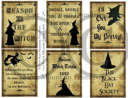 halloween jar labels primitive witch silhouette sayings pantry logo labels jpeg