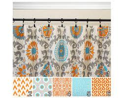 aqua orange curtains etsy