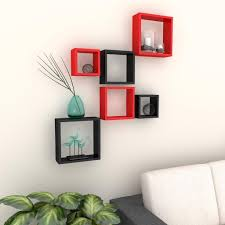 Where To Buy Home Decor Online Graywood Nesting Square Shelf Set Of 6 Shelves Red U0026 Black