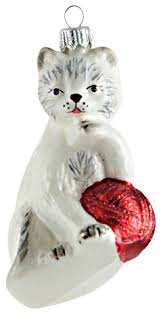 white gray cat with ornament contemporary