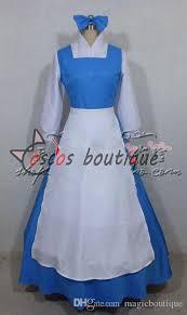 Belle Halloween Costume Blue Dress Custom Beauty Beast Princess Belle Blue Maid Dress