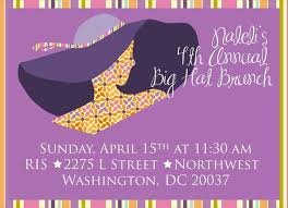 brunch party invitations big hat brunch invitation only bridal shower baby shower