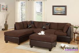 Reversible Sectional Sofa F7615 Chocolate Reversible Sectional Sofa With Ottoman