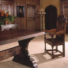 Gothic Dining Room Table by Medieval Trestle Table In Oak With Carved Arm Chair And Parchemin