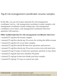 effective resume writing samples top8riskmanagementcoordinatorresumesamples 150517015230 lva1 app6892 thumbnail 4 jpg cb 1431827603