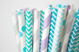 Winter Party Decor - teal purple and silver paper straws mermaid party decor