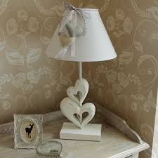 white linen table lamp heart lace gingham beige table bedside