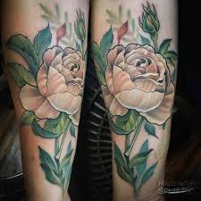 elegant cabbage rose tattoo by melissa fusco