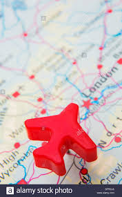 Push Pin Map Map Of Uk With Push Pin Plane Over London Stock Photo Royalty