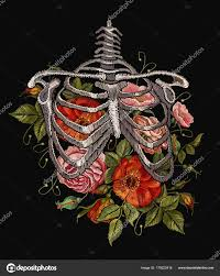 embroidery human rib cage roses embroidery skeleton