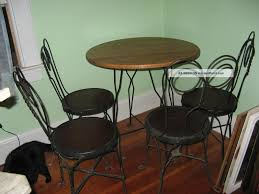 ice cream parlor table and chairs set vtg antique ice cream parlor set table 4 chairs wood iron dining bistro