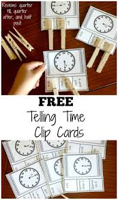 practice telling time with free telling time clip cards