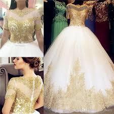 2016 gold lace appliques arabic wedding dresses a line scoop short