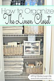 bathroom closet organization ideas decor tips organize linen closet with wire shelving and wicker